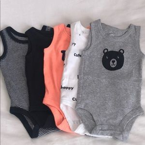 Baby Carters Bundle Sleeveless Onesies - 5 pack